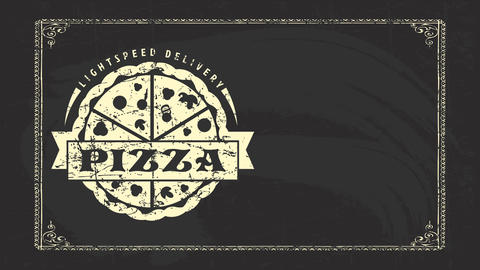 lightspeed delivery pizza real branding idea with tempting mushrooms and salami chalk drawings on CG動画