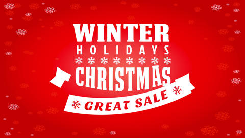 winter holidays sale advertisement with big lettering of different styles over brilliant red Animation
