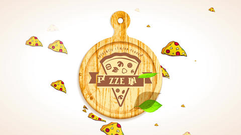 realistic italian flavour pizzeria ad with graphical of pizza piece on wooden round board with real CG動画