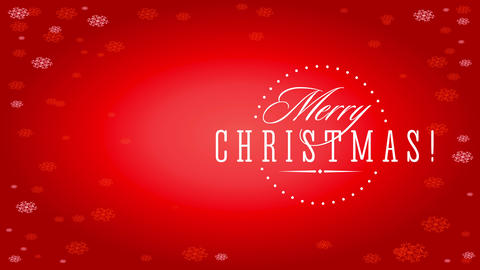 merry xmas fashionable mark with handwriting indoor rounded speckled border over red background with Animation