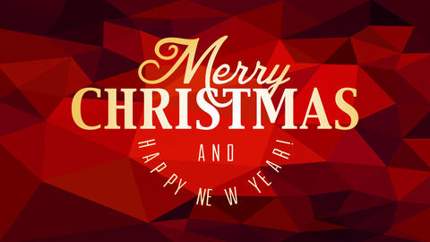 merry christmas and happy new year message with golden calligraphy over red triangles gradient Animation