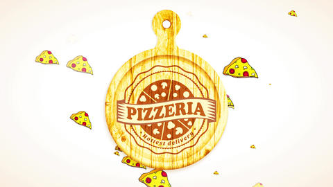 sliced pizza carved on wooden clipping board with irregular boundary and award over for pizzeria CG動画