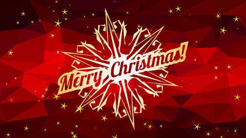 merry xmas advertisement written inside flake symbol over abstraction scene with red 3d polygon Animation