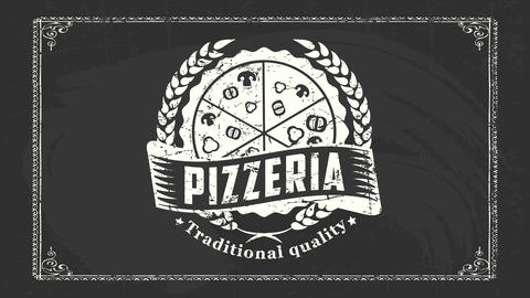 grunge vintage style sign board for famous pizzeria offering traditional quality product directly CG動画