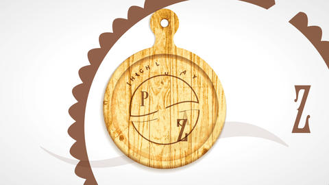 high quality pizzeria sign with modern concept art on wooden cutting board offering fast delivery CG動画