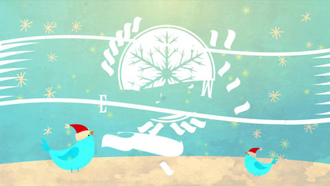 xmas and new period reception postcard with snowflake insignia over background with snowfall falling Animation