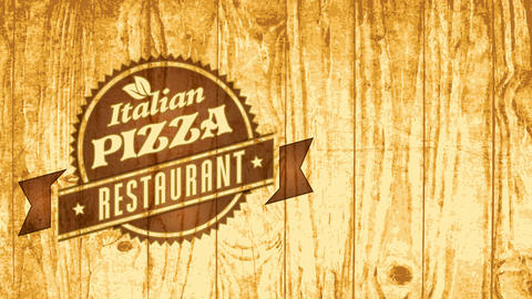genuine fast nourishment italian pizza bistro mark concept with pyrography emblem art on wood scene CG動画