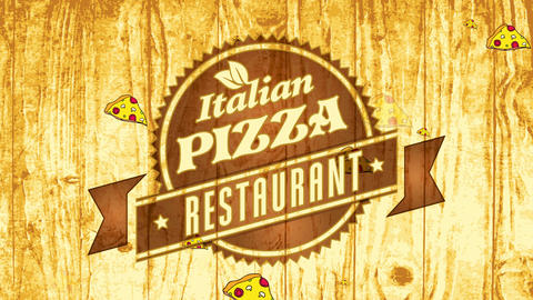 genuine fast food italian pizza dining room mark concept with pyrography badge art on wood CG動画