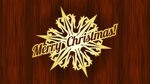 merry christmas elegant card presentation with golden pin in the form of snowflake shape with grunge Animation