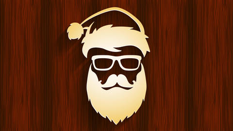 cool stylish santa claus head wearing hipster sunglasses and long beard with sexy look over wooden Animation
