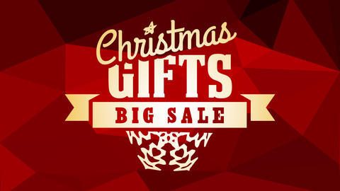 christmas gifts big sale commercial art with calligraphy decorated with snowflake graphic over ruby Animation