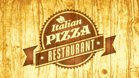 original fast food italian pizza restaurant brand concept with pyrography emblem art on wood CG動画