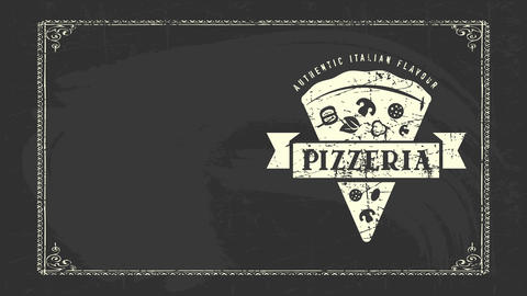 original italian flavour pizzeria advertising with white grease style sketch of piece with medal on CG動画