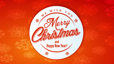christmas new years greeting card with round insignia with classic lettering combined to orange Animation