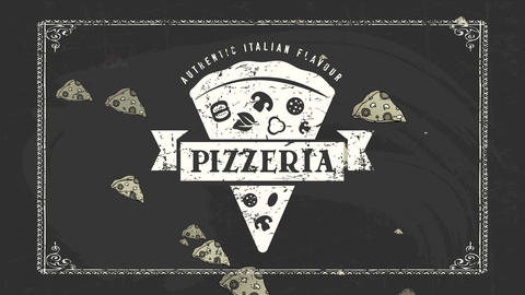 realistic italian flavour pizzeria advertisement with white stain fancy artwork of piece with ribbon Videos animados