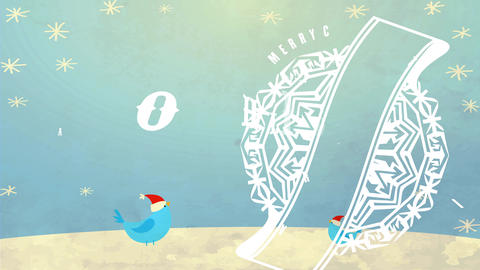 holiday transfer antique announcement with flake over landscape image wishing merry xmas and Animation