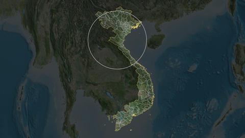 Yen Bai - province of Vietnam. Satellite Animation