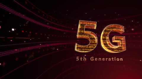 5G Digital Network technology 5th generation mobile communication concept background 6 red 4k Animation