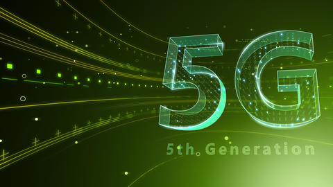 5G Digital Network technology 5th generation mobile communication concept background 6 green 4k Animation