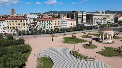 Amazing aerial view of Livorno and Mascagni Terrace, famous town of Tuscany Live Action