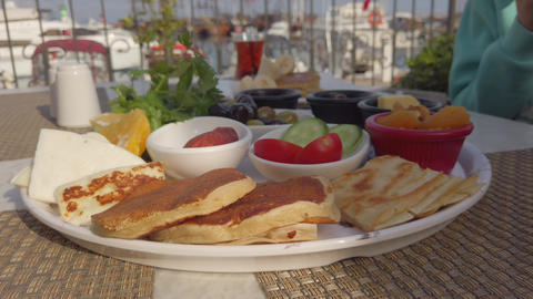 Traditional Turkish breakfast at the restaurant Live Action