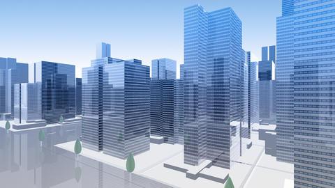 City Building Simple Modern Skyscraper business street background Ha4 sky 4k Animation