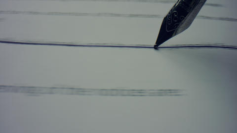 Fountain pen writing line on contract. Business person crossing text on document Live Action