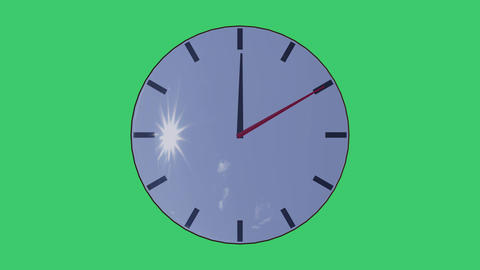 Stopwatch on a green background with sun glare on glass, loop Animation