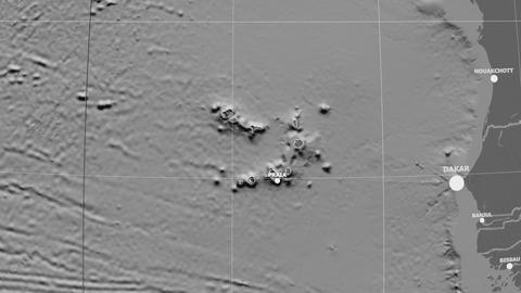 Zoom-in on Cape Verde outlined. Grayscale contrasted Animation