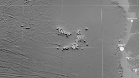 Zoom-in on Cape Verde outlined. Grayscale Animation