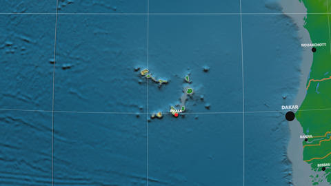 Zoom-in on Cape Verde outlined. Physical Animation