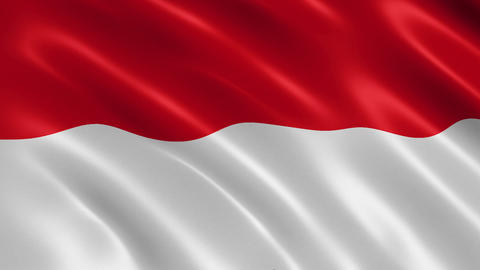 Indonesian flag waving in the wind Animation