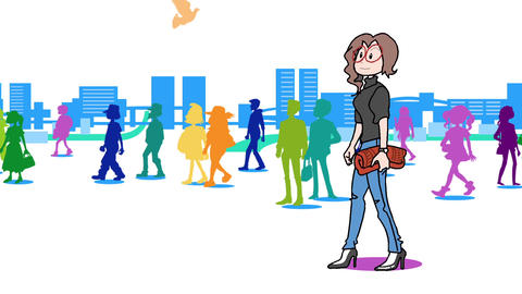 A woman walking in the city05 Animation
