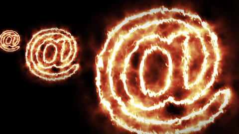 Infinite Zoom Into hot burning sign on black screen Animation