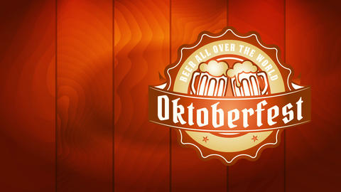 classy oktoberfest festivity signpost with miniature oval insignia with flooding beer coffee cup Videos animados