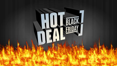 black friday discount deal concept with huge 3d alloy writing brilliant and floating over warm blaze Animation