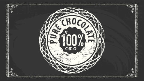 100 percent pure chocolate cocoa product signboard with vintage rounded figure drawn over black Videos animados