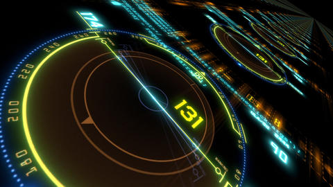 HUD technological intro.Flying through digital HUD target in sci fi cyber space.Techno Animation