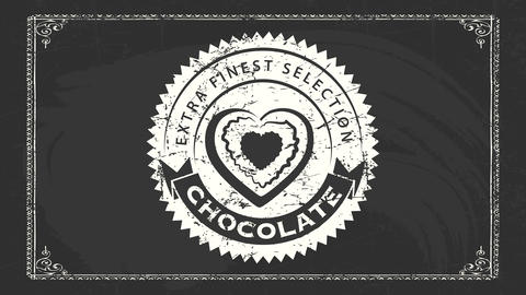 extra finest selection chocolate publicity with white grunge style emblem with heart candy graphic Animation