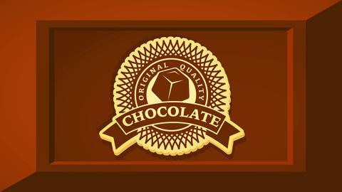 original quality chocolate product package idea with geometric rounded icon inside brown 3d piece of Videos animados