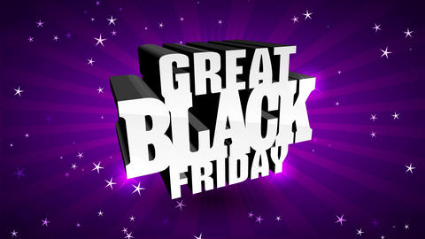 great black friday announcement with big 3d shiny writing bubbly in center of colour sunshine Animation