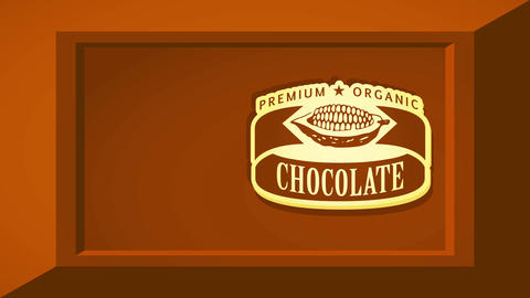 premium healthful chocolate bar mark concept science with chocolate pod graphic over brown 3d square Videos animados