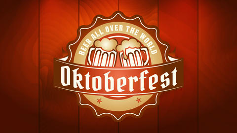 stylish oktoberfest festival signboard with small rounded emblem with overflowing beer mugs toasting Videos animados