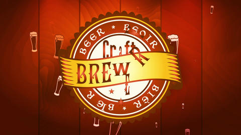 classic skill brew brewery sign with size symbol garnished with yellow ribbon over brown sparkling Videos animados