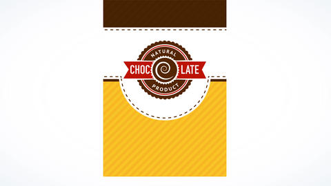 natural chocolate product with spiral emblem giving juvenile look over striped and dotted background Animation