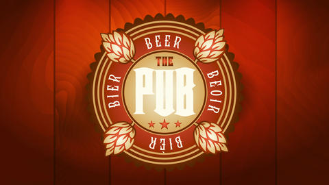 the pub emblematic tag with hop branches decorating a rounded icon for craft beer brewery bar Videos animados