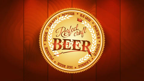 perfect craft beer with golden bottle cap emblem ornamented with calligraphy and wheat branches over Videos animados