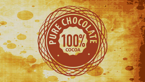 old cocoa product brand offering 100 percent pure chocolate with elegant spiral graphic over stained Animation