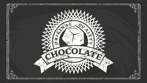 original quality chocolate white chalk graphic drawn on black chalkboard for organic cocoa and Videos animados