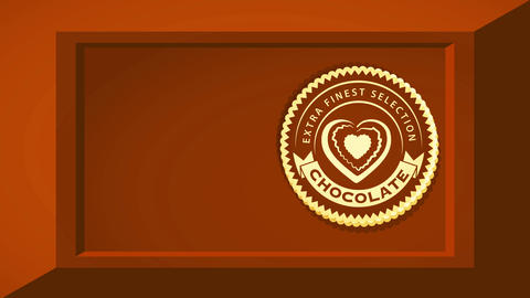 extra smooth chocolate selecting concept art with 3d effect chocolate bar and oval icon with heart Videos animados